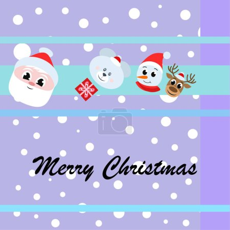 Christmas card. Santa, snowman, deer, bear and gift vector background