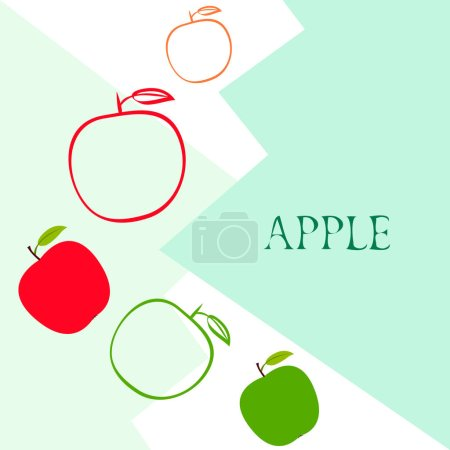 Illustration for Apple frame vector illustration. Vector card design with apple and leaf. - Royalty Free Image