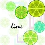 Green half and slice lime. Vector illustration, ba...