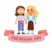 Friendship day Two young cute girls holding hands