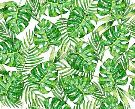 Photo pour Feuilles tropicales motif de couturiers, isolé sur blanc. Illustration aquarelle. - image libre de droit