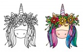 Vector cute unicorn portrait in wreath black silhouette and colored isolated on white