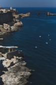 Rocky coastline of Valletta, Malta