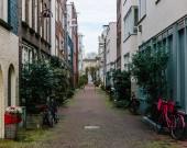 Empty street in downtown Amsterdam