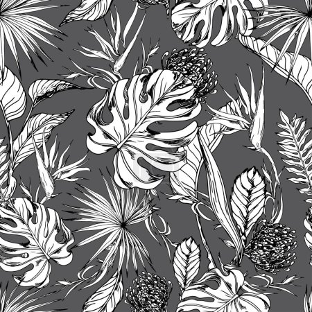 Photo for Seamless pattern with tropical leaves and exotic flowers. Black and white hand drawn vector. - Royalty Free Image