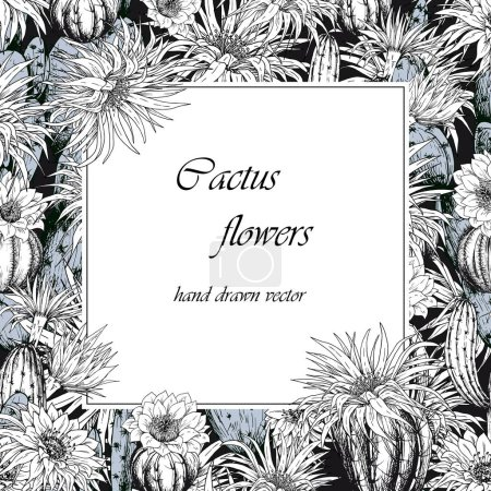 Photo for Square frame with cactus plants and flowers. Black and white vector. - Royalty Free Image
