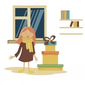 Vector flat illustration displaying little kid standing and watching her presents for new year holiday at night time