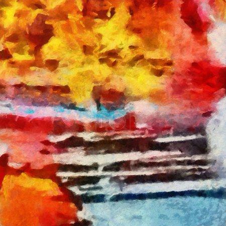 Photo pour Peinture abstraite originale sur toile. Modèle de médias mixtes. Fond d'art dessiné à la main . - image libre de droit