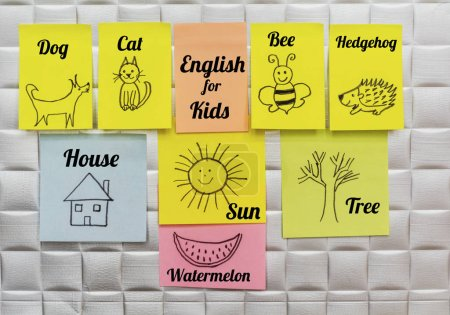Photo for Learn English Language  Education Concept with Painted Animals on a Sticky Notes.English for Kids - Royalty Free Image