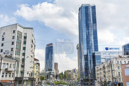 Photo for Kiev, Ukraine - 15 May, 2019: Aerial  View of the City with  Modern Building Skyscrapers .Kiev Cityscape - Royalty Free Image