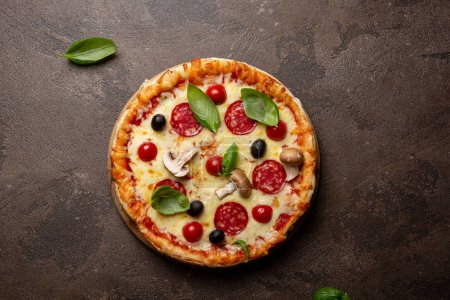 Photo for Whole pizza top view - Royalty Free Image