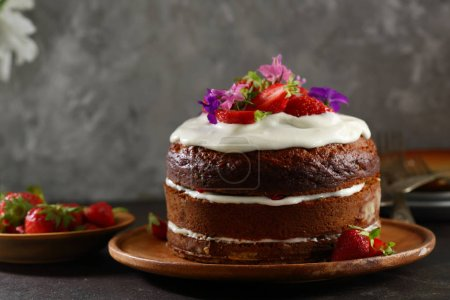 Photo for Sweet cake with cream - Royalty Free Image