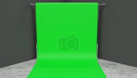 Smaller green screen setup render in a corner of a studio with grey walls, concrete floor.