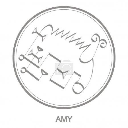 Illustration pour Icône vectorielle avec symbole du démon Amy Sigil du démon Amy - image libre de droit