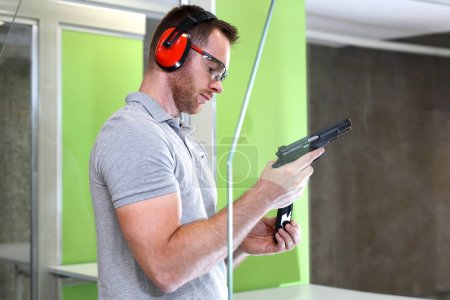 Shooting range.Shooting with a gun.