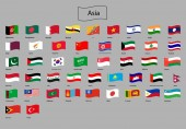 flags of asia Vector illustration icon button set