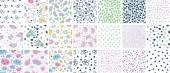 set 21 seamless patterns with decorative elements rainbow donut ice cream clouds cupcake