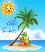 Summer background with turtle eating ice cream