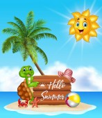 Summer background with turtle and wooden sign