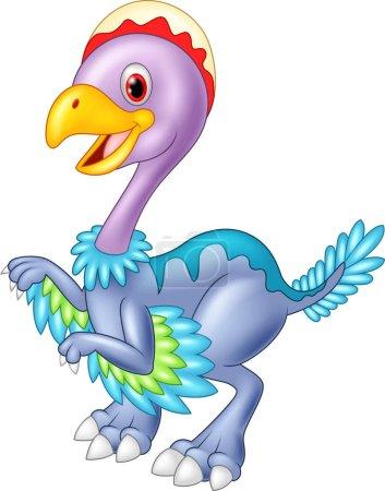 Cartoon baby dinosaur archaeopteryx