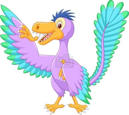 Illustration of cartoon archaeopteryx waving