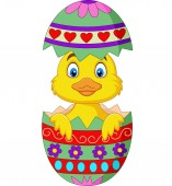 Vector illustration of Cartoon duckling come out from an Easter egg