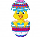 Vector illustration of Cartoon chick comes out from an Easter egg