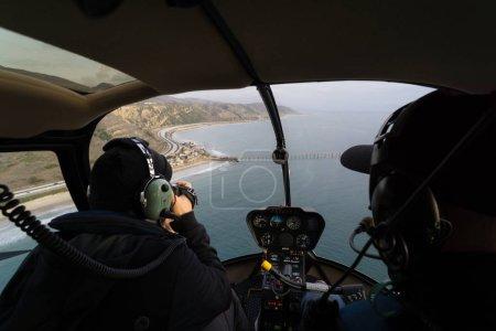 Aerial helicopter shot of Carpinteria