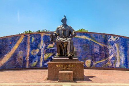 Samarkand Ulugh Beg Observatory Statue Frontal Vie...