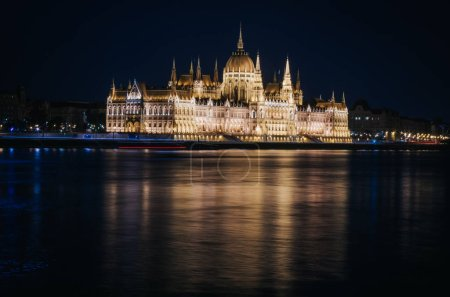 View of the Parliament in Budapest nicely illuminated at night
