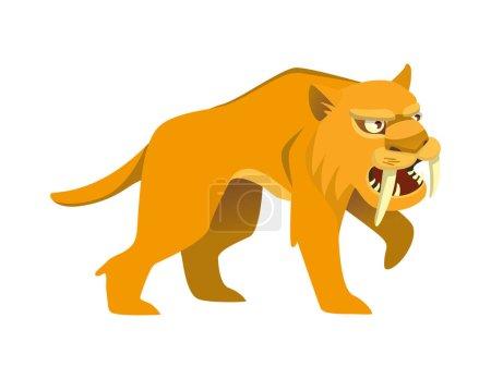 Illustration for Saber-toothed tiger on white background. Vector 2D illustration - Royalty Free Image