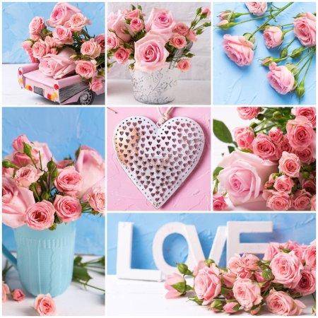 Photo pour Collage de roses roses fleurs et texte d'amour - image libre de droit