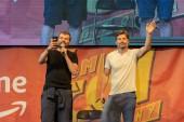STUTTGART, GERMANY - JUN 30th 2018: Pilou Asbaek and Nikolaj Coster-Waldau at Comic Con Germany Stuttgart, a two day fan convention