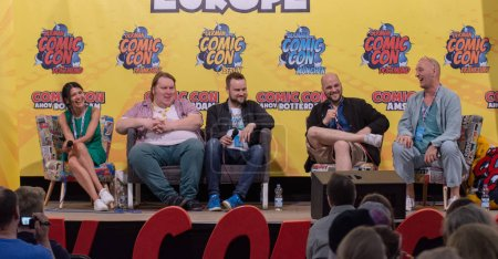 FRANKFURT, GERMANY - MAY 6th 2018: Ghadah Al-Akel, Manuel Straube, Tobias Mueller and Ingo Albrecht at German Comic Con Frankfurt, a two day fan convention