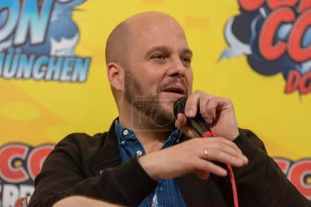 FRANKFURT, GERMANY - MAY 6th 2018: Tobias Mueller (*1979, voice actor, german voice of Jonah Hill, Michael Pena) at German Comic Con Frankfurt, a two day fan convention