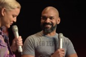 MANNHEIM, GERMANY - MAR 17th 2018: Khary Payton (*1972, actor, Ezekiel on The Walking Dead) talks about his experiences in The Walking Dead at Walker Stalker Germany