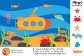 Activity page sea world under water in cartoon style find images answer the questions visual education game for the development of children kids preschool activity worksheet vector