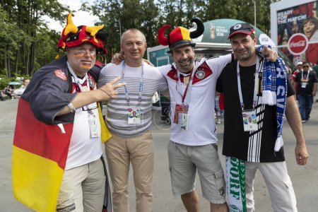Russia - June, 2018:  football fans supporting team during  match