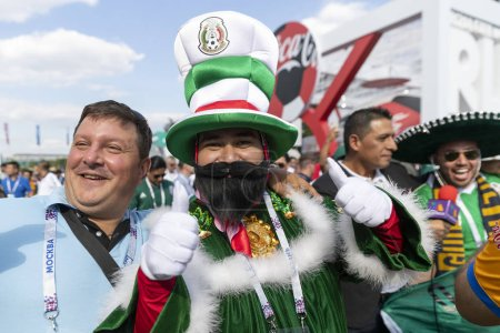 Russia - June, 2018: Football fans supporting teams during  match