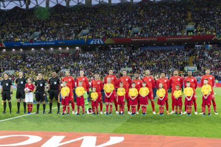 MOSCOW, RUSSIA - July, 2018: FIFA World Cup. Team gathering