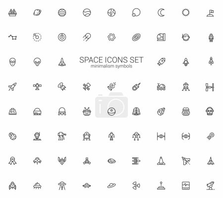 Illustration for Space icon set. Star stations, Robots and spaceships symbols - Royalty Free Image