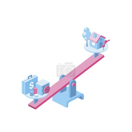 Photo for Money and Real Estate 3d vector icon isometric pink and blue color minimalism illustrate - Royalty Free Image