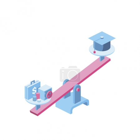 Photo for Libra Money and skills 3d vector icon isometric pink and blue color minimalism illustrate - Royalty Free Image