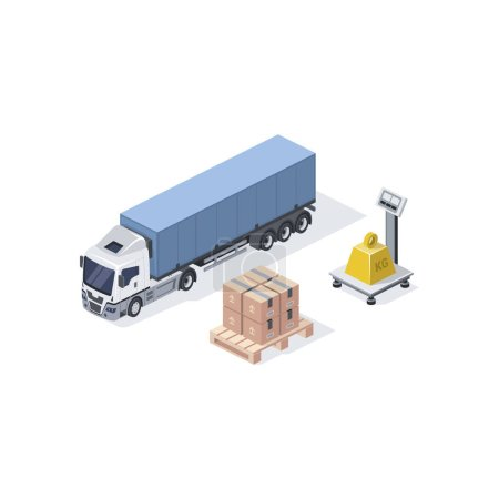 Illustration for Cargo weight, truck. Cargo weight, truck. Vector 3d isometric, color web icon, new flat style. Creative illustration design, idea for infographics. - Royalty Free Image