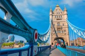 UK - May 14 2018: Tower bridge crosses the River Thames, it's built in 1886 consists of two bridge towers, the bridge deck is freely accessible to both vehicles and pedestrians