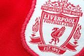 Bangkok, Thailand - January 17 2019: Close-up of Liverpool FC football home jersey circa 2000 - 2002 with  club's emblem