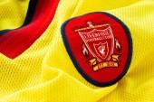 Bangkok, Thailand - January 17 2019: Close-up of Liverpool FC football away jersey circa 1997 - 1999 with  club's emblem