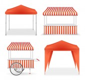 Realistic Detailed 3d Red and Striped Blank Market Stall Template Mockup Set Vector