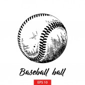 Vector engraved style illustration for posters decoration and print Hand drawn sketch of baseball or softball ball in black isolated on white background Detailed vintage etching style drawing