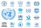 MILAN ITALY - NOVEMBER 30 2018: Vector high quality logo collection of the United Nations agencies isolated on white background